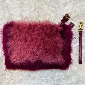 NWT Coach Pink/Purple Shaggy Fur Wristlet Clutch